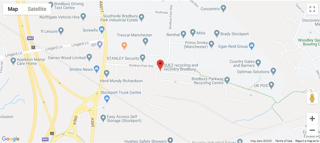Bredbury Recycling Centre Location Map