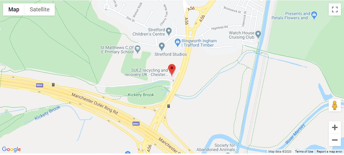 Chester Road Recycling Centre location map