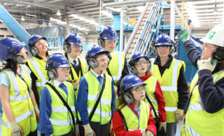 Group of students visiting Materials Recovery Facility