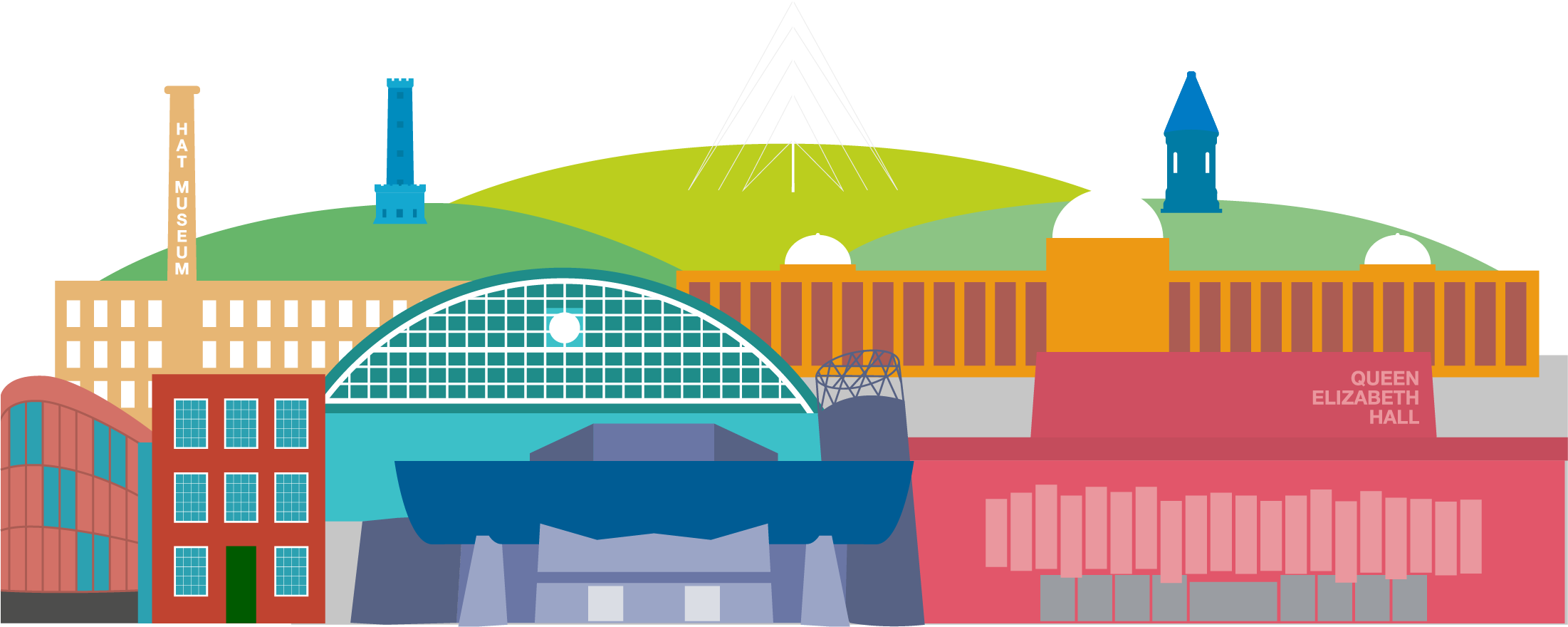 cartoon image of Greater Manchester buildings