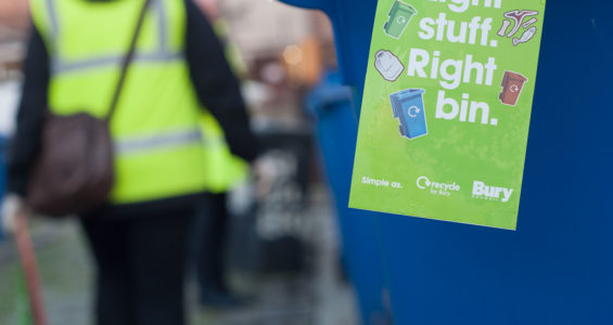 Right stuff, right bin tag on a blue wheelie bin