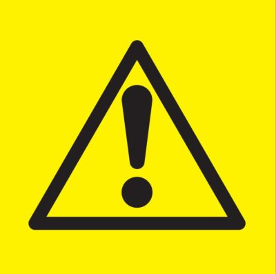Yellow triangle warning sign