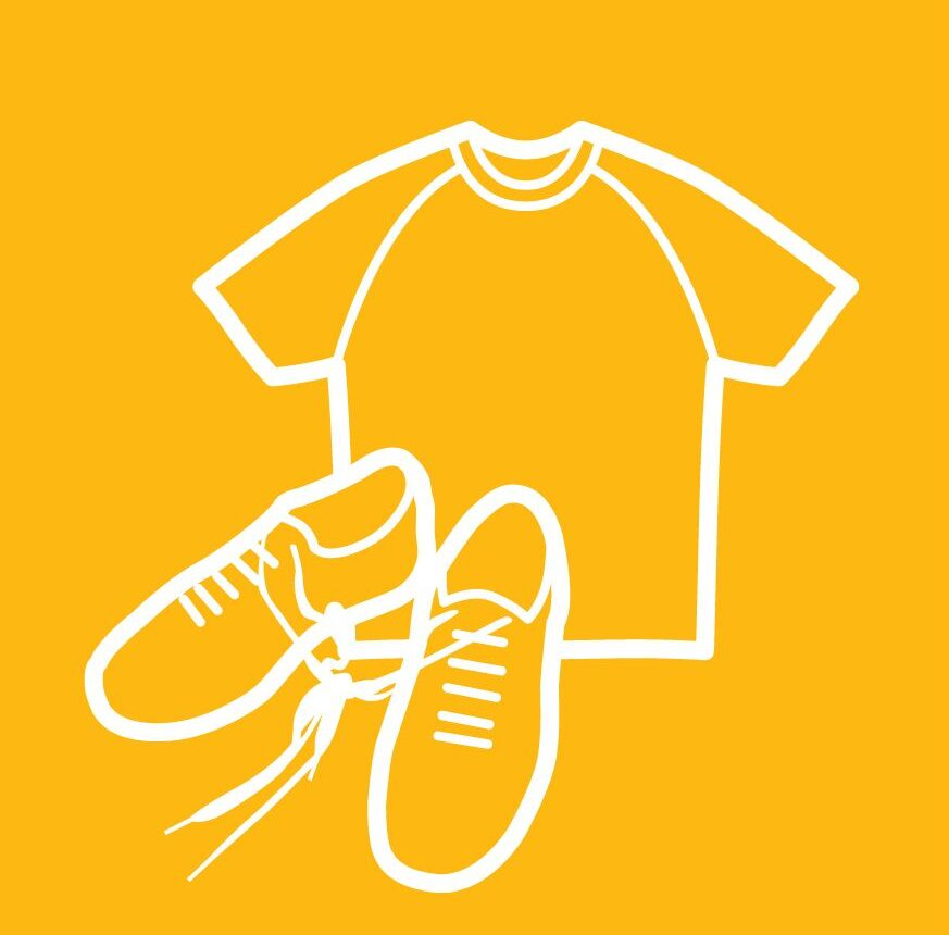 t shirt and trainers icon