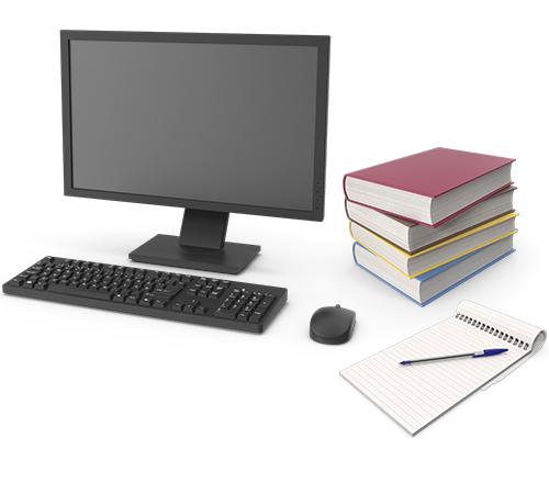 Desktop computer with a pile of books, pen and a notepad