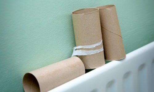 Toilet roll tube on radiator