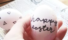 Hand holding an egg with happy Easter written on it