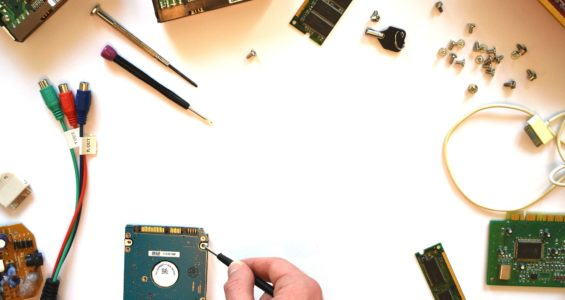 a circuit board being repaired