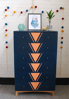 Tread Softly Upcycled Geometric Design Chest of Drawers