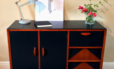 Tread Softly Upcycled Wood Painted Black Sideboard