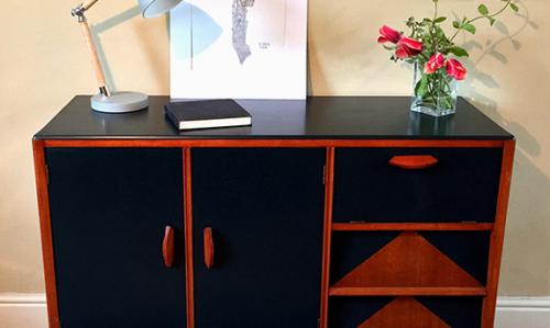Tread Softly Upcycled Wood Painted Black Sideboard