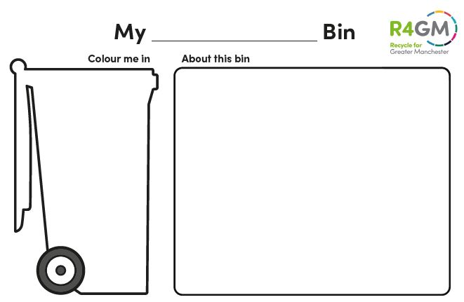 Worksheet with wheelie bin and space to add information about what goes in the bin