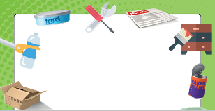 blank poster with green boarder and a range of recyclable items