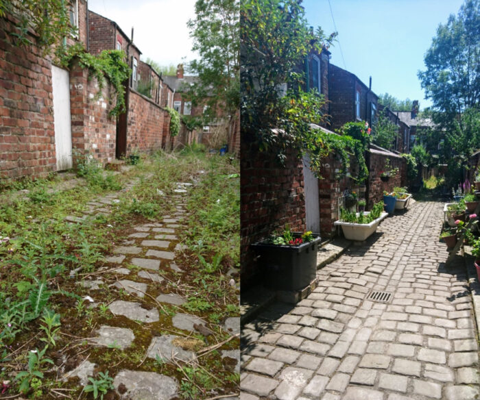 cobbled alleyway overgrown with moss and weeds transformed into alleyway with cleaned cobbles and planters