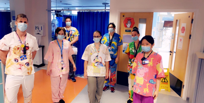 Hospital staff wearing scrubs made out of upcycled duvets
