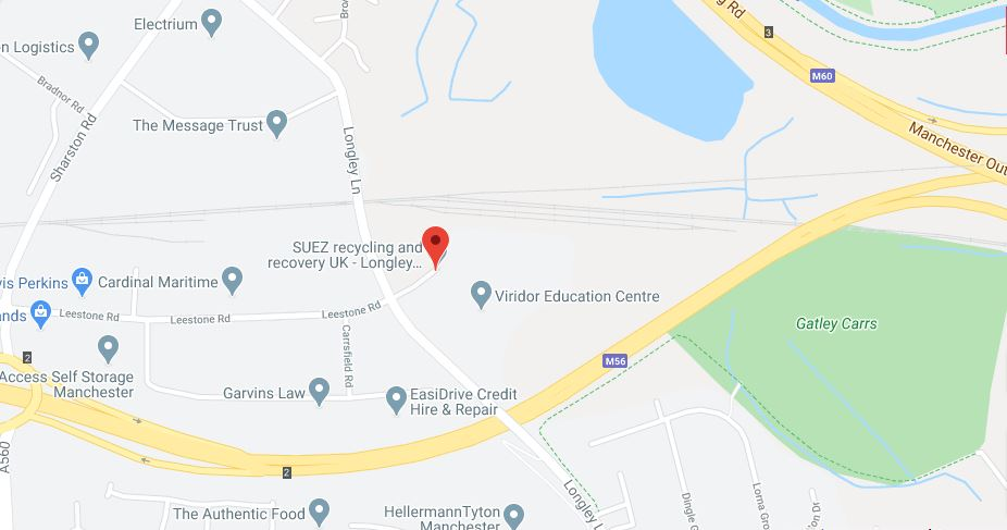 Longley Lane Recycling Centre location map