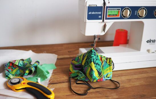 Constructing a face mask with a sewing machine