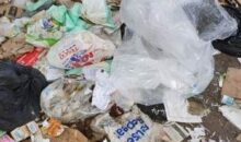 Plastic packaging mixed in with paper and card recycling