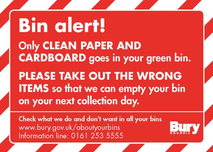 Bin alert bin sticker