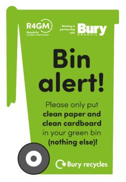 Bury green bin-shaped leaflet cover