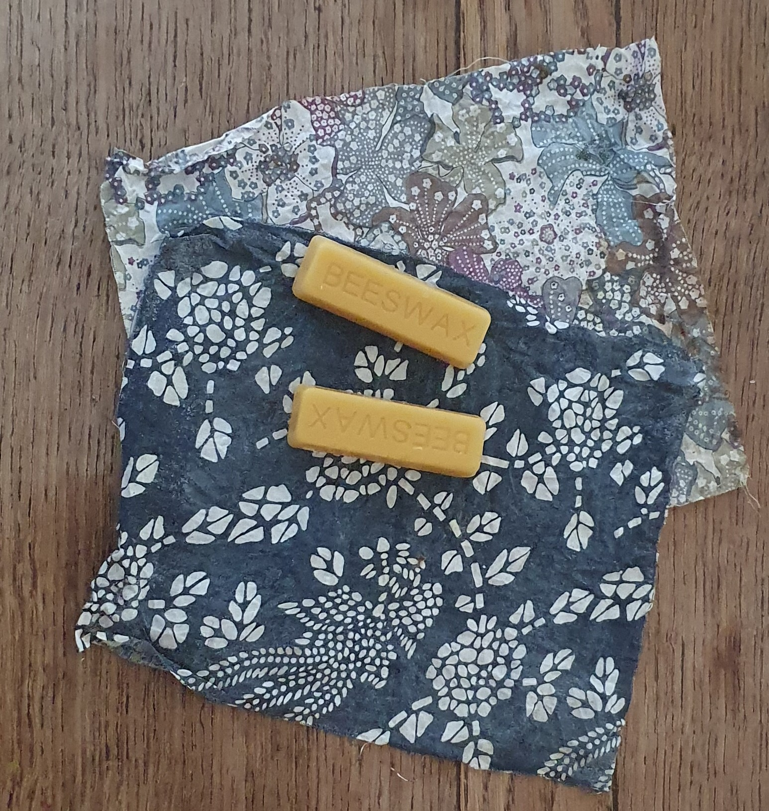 Beeswax blocks on top of cotton cloths