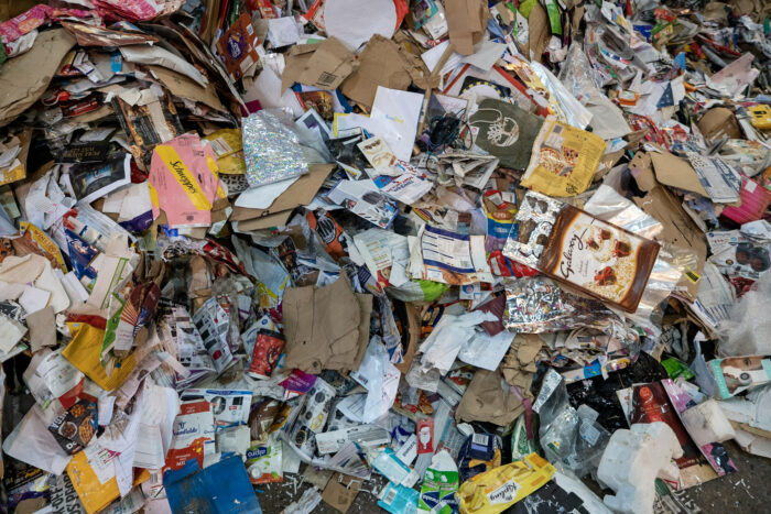 paper and card recycling with the wrong things