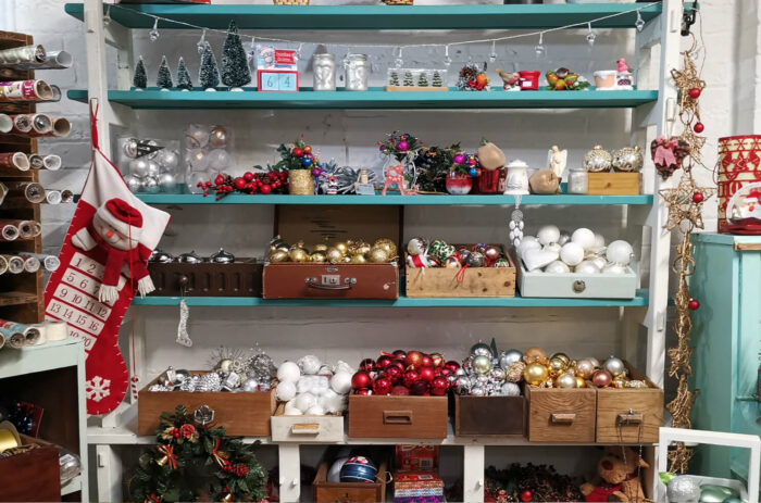 Shelves with Christmas decorations