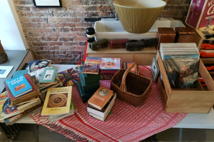 Secondhand books vinyl and vintage items