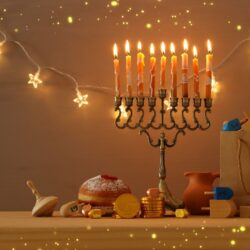 Menorah with candles and food