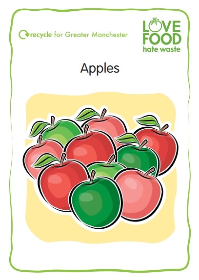 Screen shot of Love Food Hate Waste Activity showing a number of animated apples