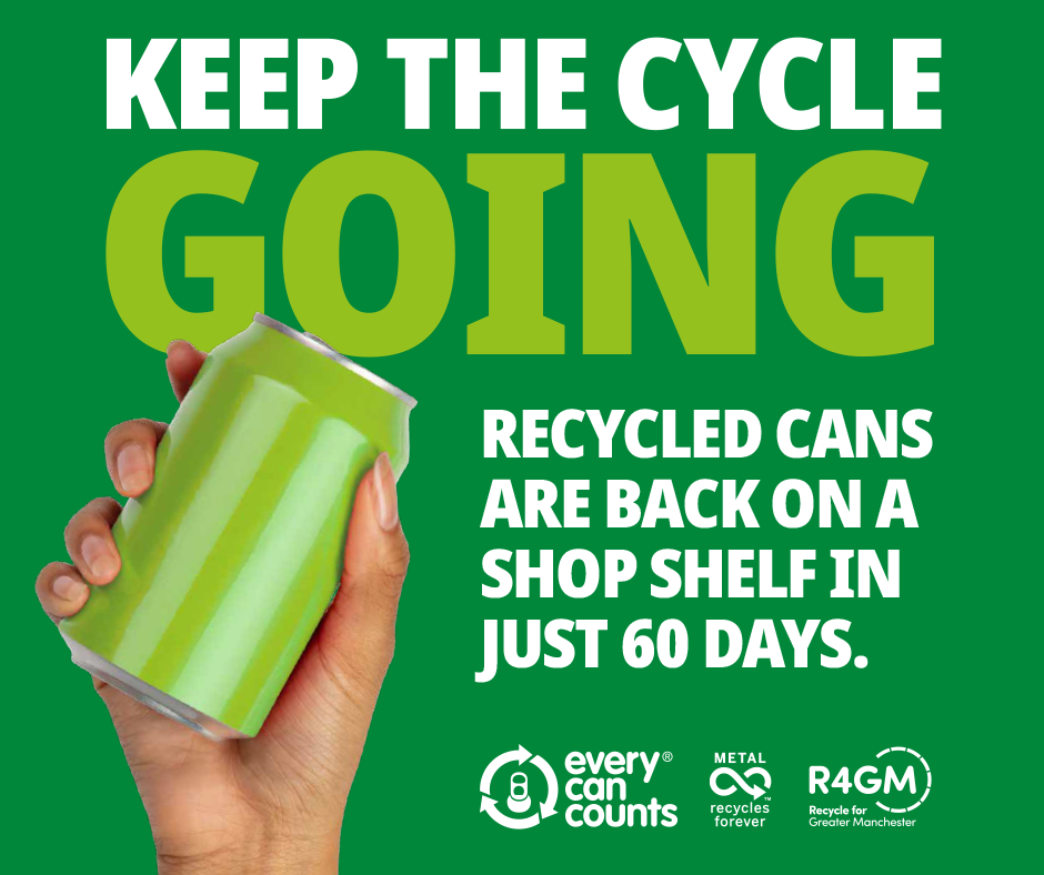 A hand holding a green can. Text reads: Keep the cycle going. Recycled cans are back on a shop shelf in just 60 days.