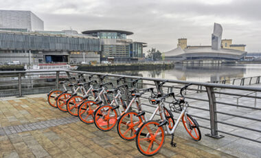 View across Salford Quays, Manchester with hire bikes